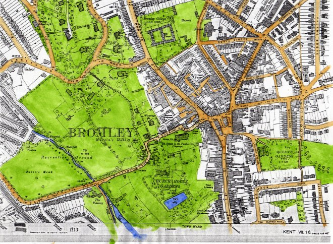 Bromley Town Centre green spaces map.