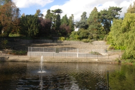 Performance area and lake in Church House Gardens.