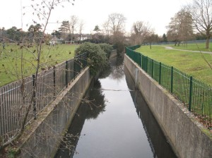 River Ravensbourne now in concrete channel in Queens Mead.
