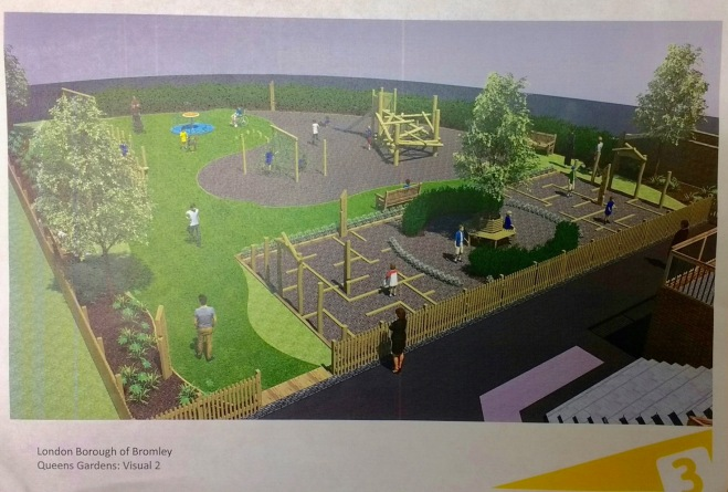 Drawing of proposed new playground for Queens Garden